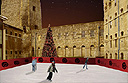 Temporary ice rink at Oxford Castle, UK