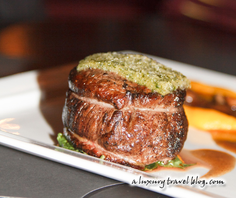 Crusted beef tenderloin with special mash and mushroom royale sauce