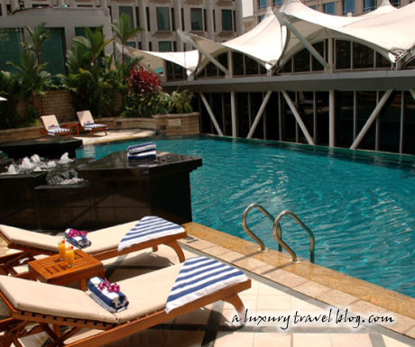 One of two swimming pools at the Peninsula Excelsior Hotel, Singapore