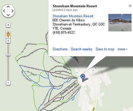 Google Maps ski routes