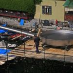 A fish festival with the world's largest frying pan