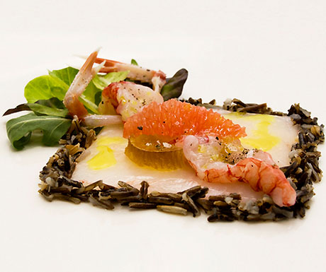 """Crudo"" raw scampi and imperial prawns, wild rice and salad"