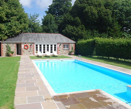 Swimming pool at Trewinnard Holiday Cottages
