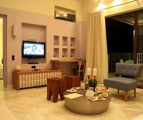 Domes of Elounda living room