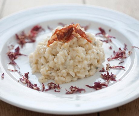 Risotto with gorgonzola, pears and crispy ham
