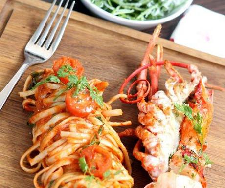 Lobster and prawn with arabiatta linguine
