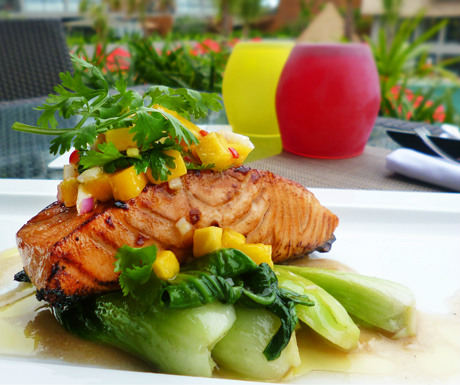 ... : Atlantic salmon, maple soy, sesame bok choy and Phuket mango salsa