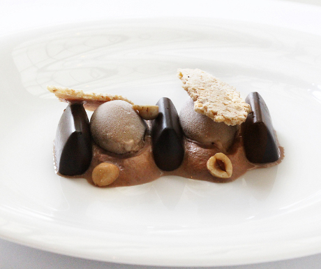 Chef Alfredo Russo's gianduia parfait with hazelnut mousse and crunchy hazelnut