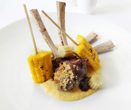 Chef Alfredo Russo's lamb chops with creamed corn, nutmeg and lavender