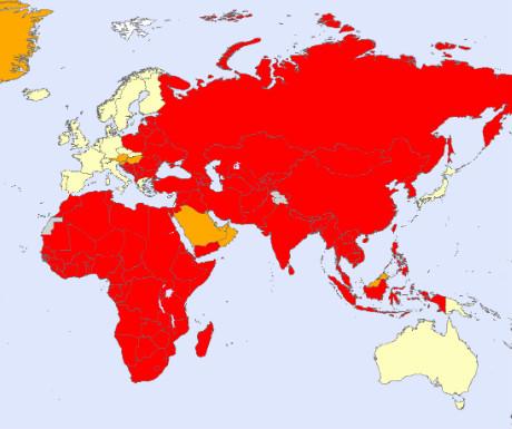World rabies map