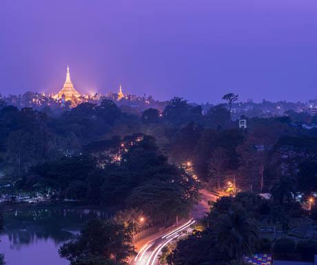 Yangon - Chatrium Hotel Shwedagon pagoda view from hotel
