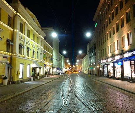 Green laser beam in Helsinki