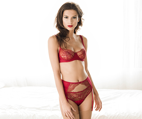 Fleur of England Amour lace balcony bra, suspender and thong