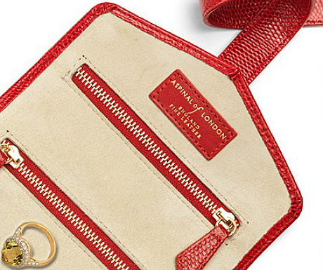 Red Lizard and Creme Suede Jewellery Roll from Aspinal of London