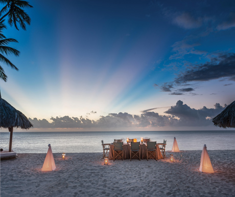Luxury beachside dining on Desroches Island