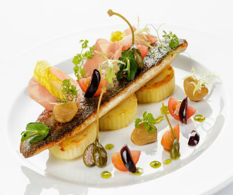 Brittany sea bass fillet, shaved Parma ham and lime pesto