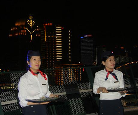 Helipad stewardesses