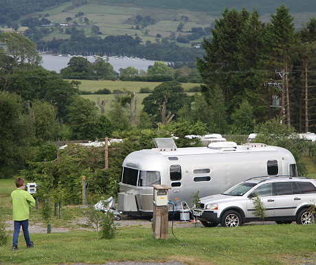 Airstream with Ullswater as a backdrop