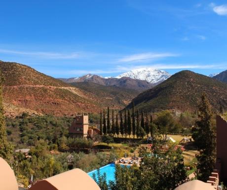 View of Atlas Mountains and Kasbah Tamadot