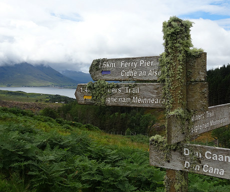 Lichen-covered sign on Raasay