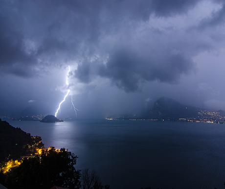 Lightning bolt over Bellagio