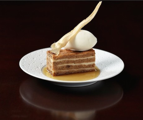 Parsnip and maple syrup cake, clotted cream ice cream