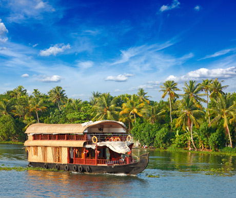 The Alleppey Express passes the backwaters of Kerala