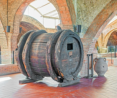 Wine barrel from seventeenth century in the entrance hall in Codorniu winery