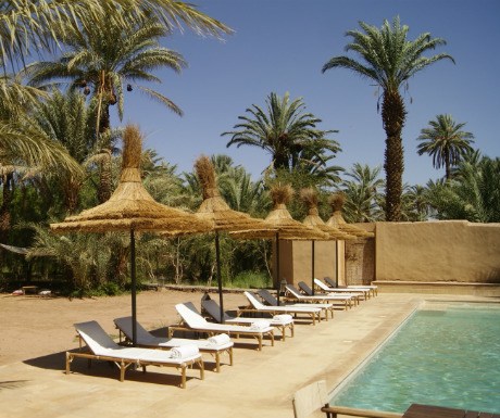 Azalai Desert Lodge pool and garden