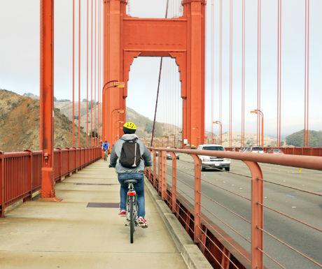 Cycling across the Golden Gate Bridge