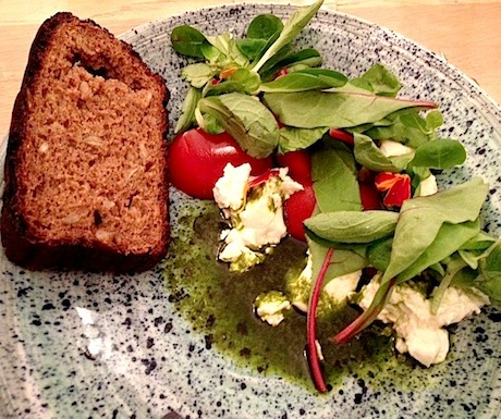 Leib's bread with dairy farm cheese salad