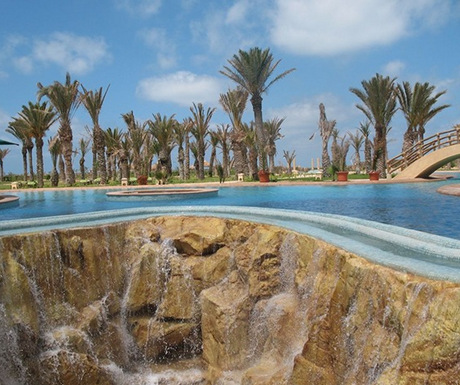 Luxury hotel pool at Hasdrubal Prestige Thalassa & Spa