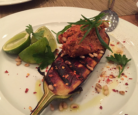 Grilled aubergine at Tomata