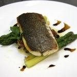 Recipe of the week: Back of sea bass, green asparagus, crispy vegetable marinade with virgin olive oil and aged balsamic vinegar
