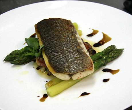 Sea bass on asparagus