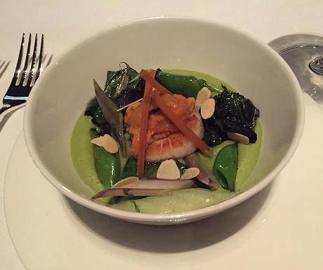 Hokkaido scallops and sea urchin with Bottarga organic vegetables and green espuma