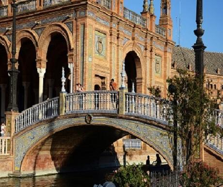 Tile work all across Plaza de Spagna, Seville