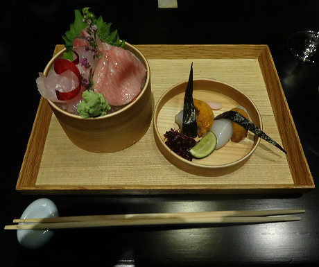 Mikuni red snapper yellowtail tuna belly and cuttlefish with sea urchin
