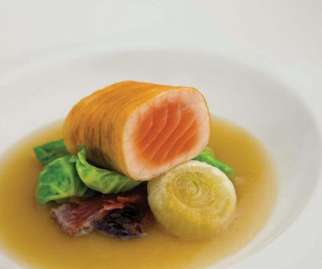 Potato-wrapped salmon
