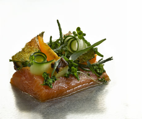 BBQ mackerel, roasted cucumber, soy and dill dressing