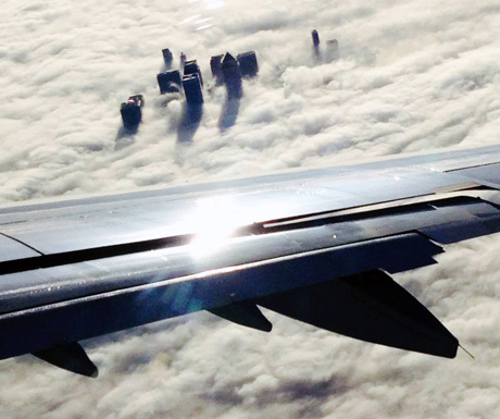 Canary Wharf above the clouds