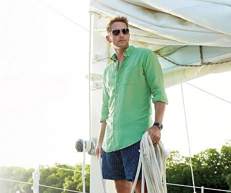 Garment-dyed linen-silk sport shirt from Peter Millar