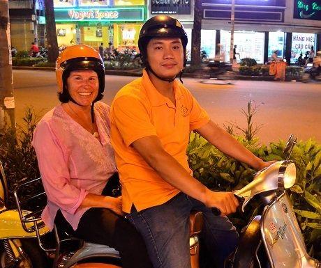 Mel on a Vespa tour in Ho Chi Minh