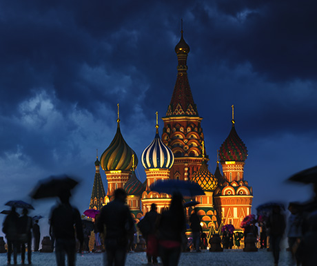 A wet evening in Red Square.