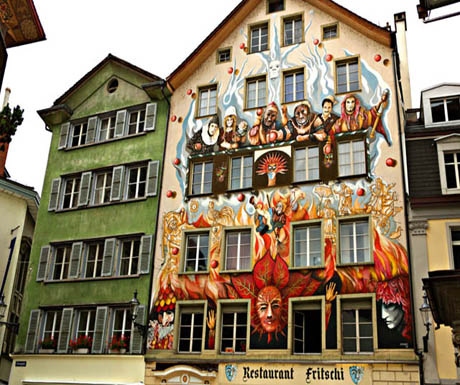 Colorful facade in Lucerne