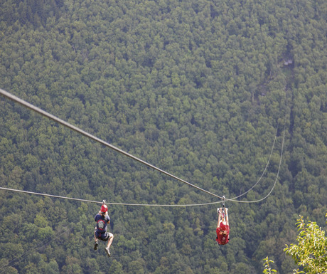 Fly down the mountain on a zip line