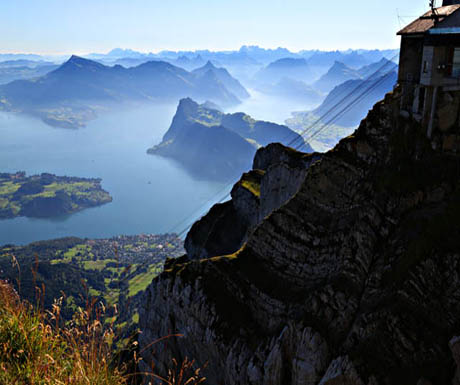 Looking out from aeriel tramway on Mt Pilatus