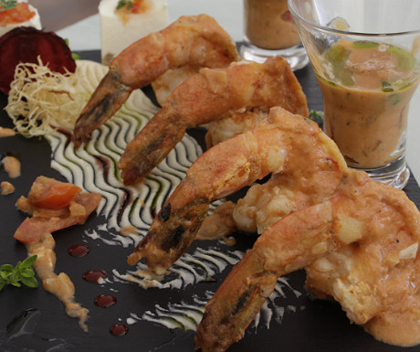 Shrimps with ouzo at Elounda Gulf Villas