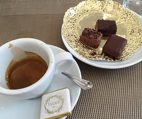 Chocolate and espresso at the lovely Cafe Farage.