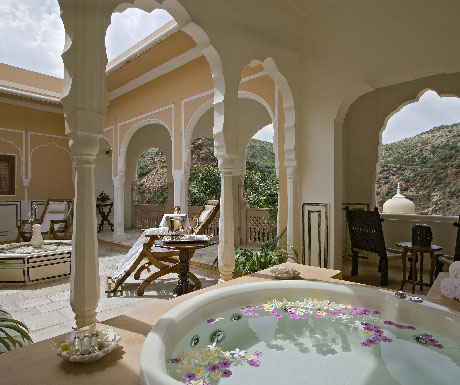 9. Bed down in a twinkly heritage palace hotel; stay at Samode Palace